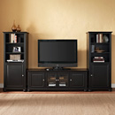 "Crosley KF100010ABK Alexandria 60"" Low Profile TV Stand and Two 60"" Audio Piers in Black Finish. Crosley-KF100010ABK"
