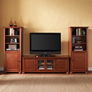 "Crosley KF100010ACH Alexandria 60"" Low Profile TV Stand and Two 60"" Audio Piers in Classic Cherry Finish. Crosley-KF100010ACH"