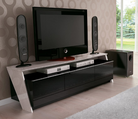 "Modloft Function Fusion TV Stand up to 75"" TVs in White Oak-Black finish. Modloft-Fusion-WOB"