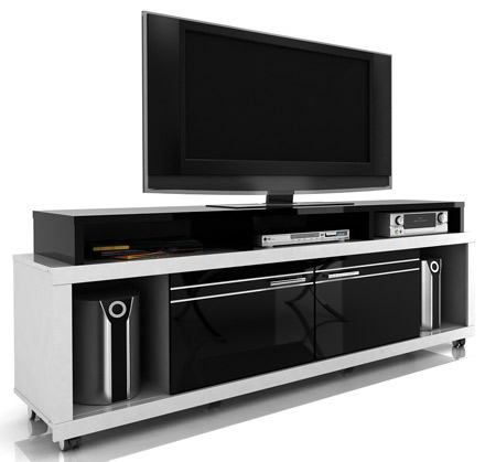 "Modloft Function Milano TV Stand up to 70"" TVs in White-Black finish. Modloft-Milano-WB"