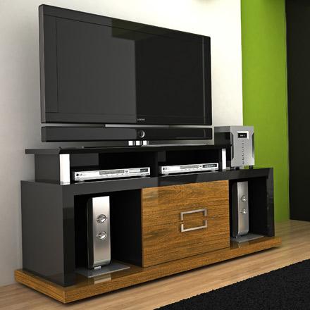 modloft function vector tv stand entertainment center up to 65 tvs in imbuia black finish. Black Bedroom Furniture Sets. Home Design Ideas