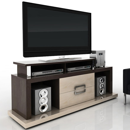 "Modloft Function Vector TV Stand up to 65"" TVs in Tobacco-Maple finish. Modloft-Vector-TM"