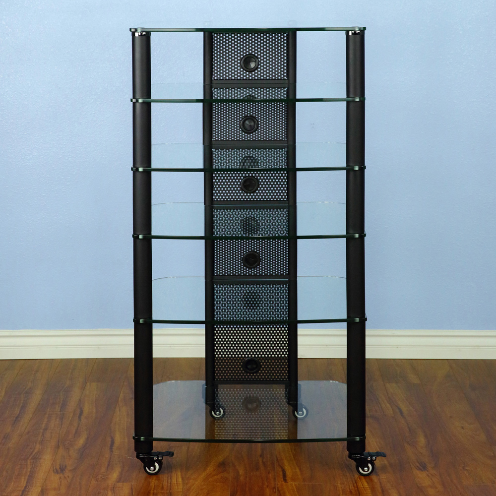 Vti Ngr Series Ngr406bb 6 Shelf Audio Rack With Black