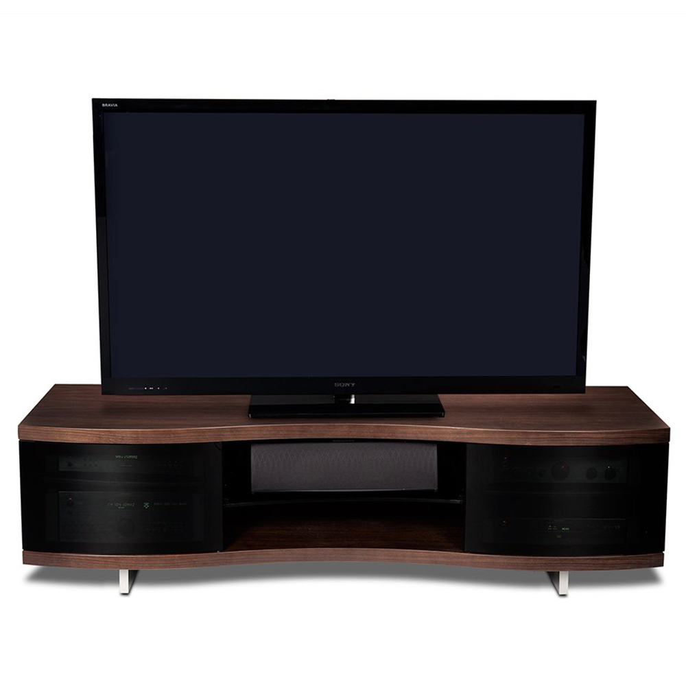 Bdi ola 8137 tv stand up to 75 tvs in chocolate stained for Miroir 50in projector review