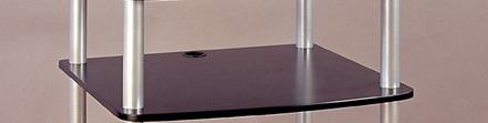 VTI AR 404 - Black Shelf with 9 inch silver legs. VTI-AR404-BlackShelf