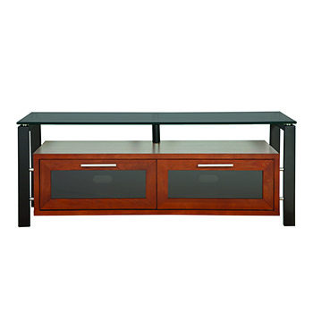 "Plateau DECOR 50 W-B-BG TV Stand up to 55"" TVs in Walnut finish with Black Frame and Black Glass.  Plateau-Decor-50-W-B-BG"