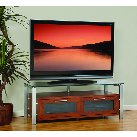 Plateau Decor 50 W S Tv Stand Up To 55 Tvs In Walnut Finish With Silver Frame And Clear Gl