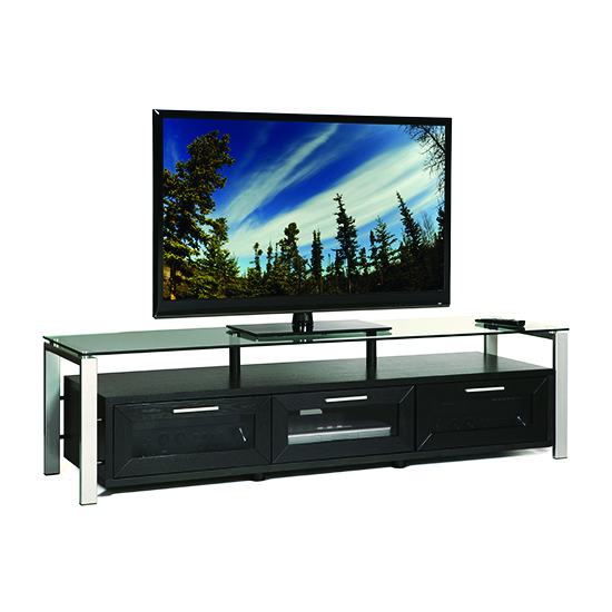 Plateau Decor 71 B S Tv Stand Up To 75 Tvs In Black Oak Finish With Silver Frame And Clear Gl