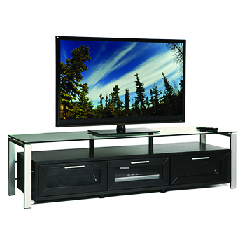 "Plateau DECOR 71 B-S TV Stand up to 75"" TVs in Black Oak finish with Silver Frame and Clear Glass. Plateau-Decor-71-B-S"
