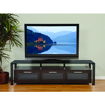 "Plateau DECOR 71 E-B-BG TV Stand up to 75"" TVs in Espresso finish with Black Frame and Black Glass. Plateau-Decor-71-E-B-BG"