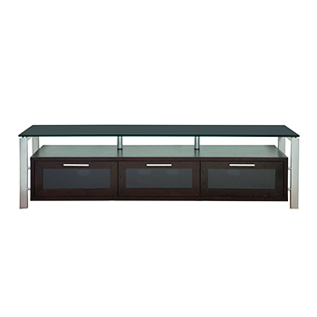 "Plateau DECOR 71 E-S-BG TV Stand up to 75"" TVs in Espresso finish with Silver Frame and Black Glass. Plateau-Decor-71-E-S-BG"
