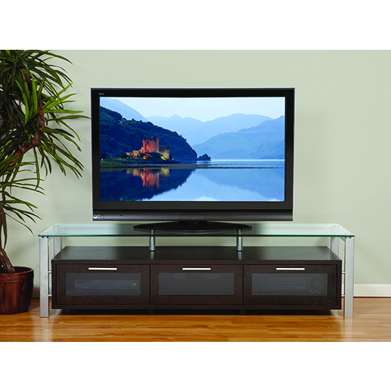 Plateau Decor 71 E S Tv Stand Up To 75 Tvs In Espresso Finish With Silver Frame And Clear Gl