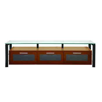 "Plateau DECOR 71 W-B TV Stand up to 75"" TVs in Walnut finish with Black Frame and Clear Glass.  Plateau-Decor-71-W-B"