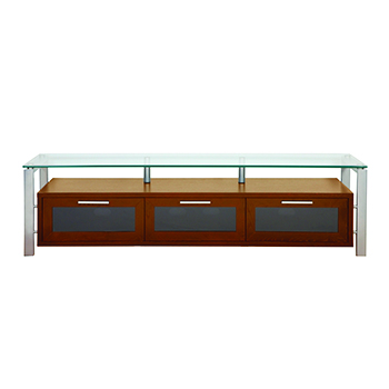 "Plateau DECOR 71 W-S TV Stand up to 75"" TVs in Walnut finish with Silver Frame and Clear Glass. Plateau-Decor-71-W-S"