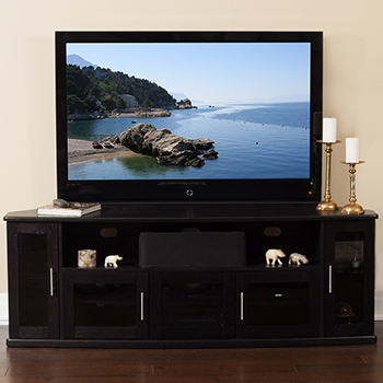 "Plateau Newport 80 Corner TV Stand up to 90"" TVs in Black Oak finish."