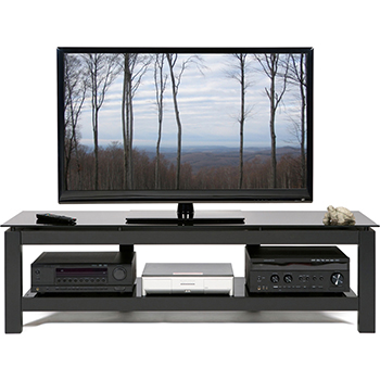 "Plateau SL-2V 64 B TV Stand up to 70"" TVs in Clear Glass and Black Satin Finish. Plateau-SL-2V-64-B"