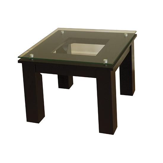 Sl Te 19 X 19 B Modern Glass Top Accent Table In Black Finish