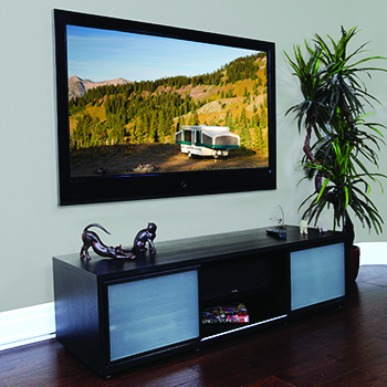 "Plateau SR-V(65) TV Stand up to 65"" TVs in Black Oak finish. PLATEAU-SR-V-65-B"