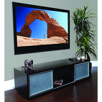 "Plateau SR-V 65 BB-S TV Stand up to 70"" TVs in Black Oak finish with Silver Frame and Glass doors. PLATEAU-SR-V-65-BB-S"