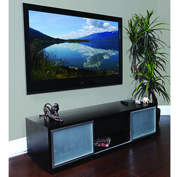 "Plateau SR-V 65 EB-S TV Stand up to 70"" TVs in Espresso finish with Silver Frame and Glass doors. PLATEAU-SR-V-65-EB-S"