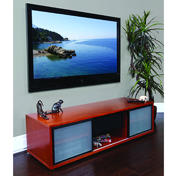 "Plateau SR-V(65) TV Stand up to 65"" TVs in Walnut finish."