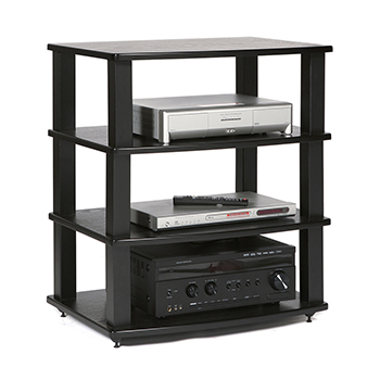 Plateau XT-A4 - 4 Shelf Audio Rack in Black color. PLATEAU-XTA4