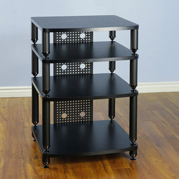 VTI 34444 - 4 Shelf Professional Audio Rack in Black Poles and Black Shelves.