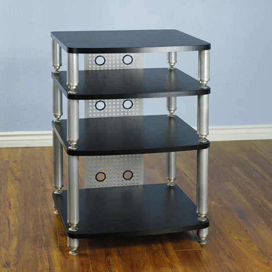 VTI 34664 - 4 Shelf Professional Audio Rack in Silver Poles and Black Shelves.