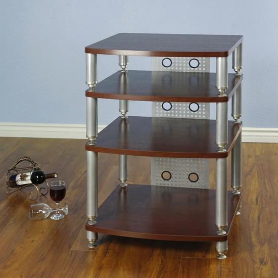 VTI 34667 - 4 Shelf Professional Audio Rack in Silver Poles and Dark Red Shelves.