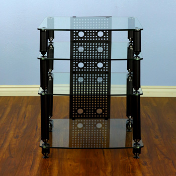 VTI 36441 - 4 Shelf Professional Audio Rack in Black frame and Clear Glass