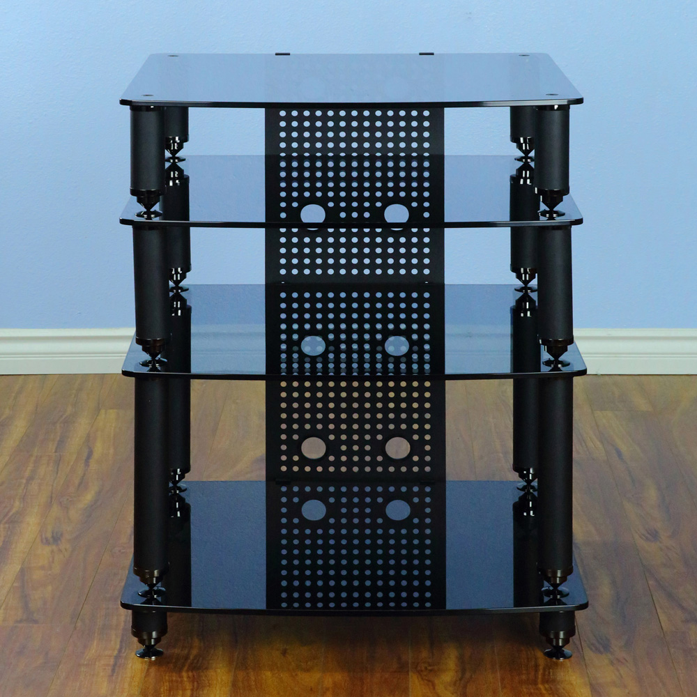 VTI 36444 - 4 Shelf Professional Audio Rack in Black frame and Black ...
