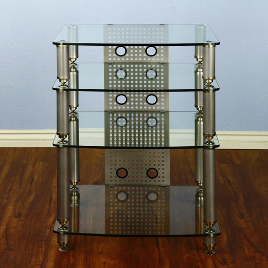 VTI 36661 - 4 Shelf Professional Audio Rack in Gray Silver frame and Clear Glass