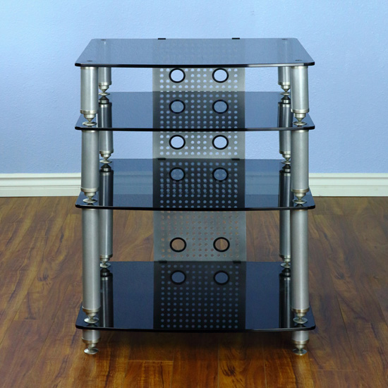 VTI 36664 - 4 Shelf Professional Audio Rack in Gray Silver frame and Black Glass.