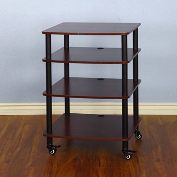 VTI AR 404 - 4 Shelf Audio Rack with Black Poles and Cherry Shelf. VTI-AR404BC
