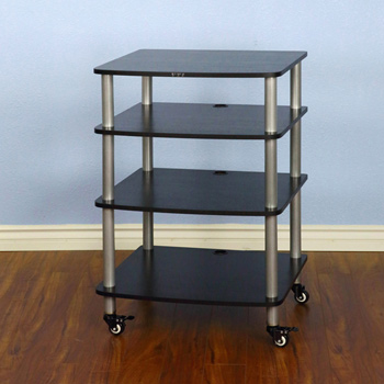 VTI AR 404 - 4 Shelf Audio Rack with Gray Silver Poles and Black Shelves. VTI-AR404SB