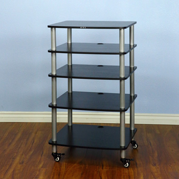 VTI AR 405 - 5 Shelf Audio Rack with Gray Silver Poles and Black Shelves. VTI-AR405SB
