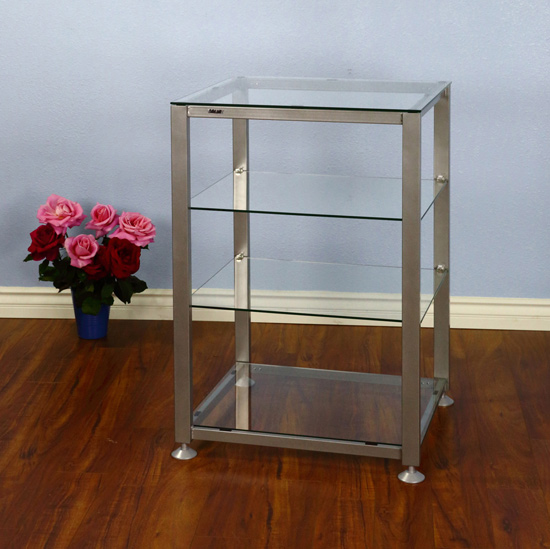 VTI EGR404 - 4 Shelf Audio Rack with Gray Silver frame and Clear Glass.