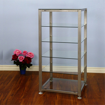 VTI EGR406S - 6 Shelf Audio Rack with Gray Silver frame and Clear Glass.