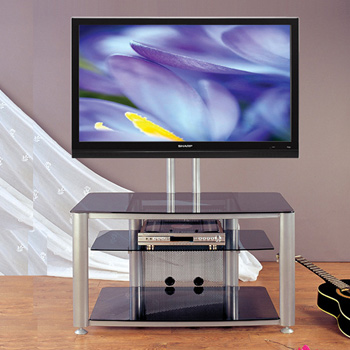 "VTI HFR 403 TV Stand with Gray Silver Frame and Black Glass up to 55"" Flat Panel TVs. VTI-HFR403SB"