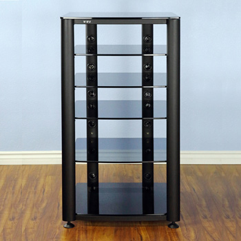 VTI HGR406BB - 6 Shelf Audio Rack with Black frame and Tinted Black Glass.