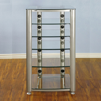 VTI HGR406S - 6 Shelf Audio Rack with Silver frame and Clear Glass.