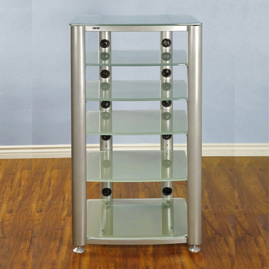 VTI HGR406SF - 6 Shelf Audio Rack with Silver frame and Frosted Glass.