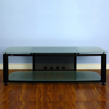"VTI HGR60BF Series TV Stand up to 65"" TVs with Black Frame and Frosted glass."