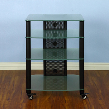 VTI NGR Series NGR404BF - 4 Shelf Audio Rack with Black Poles and Frosted Glass.