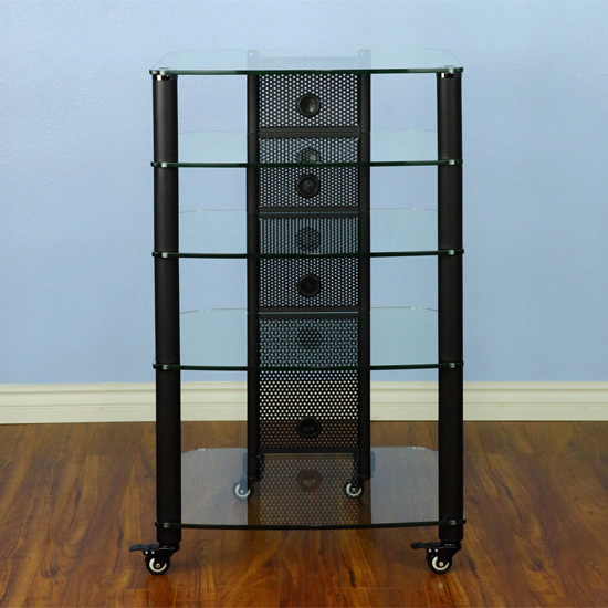 Vti Ngr Series Ngr405bw 5 Shelf Audio Rack With Black