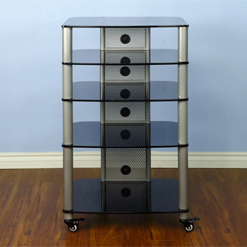 VTI NGR405BB - 5 Shelf Audio Rack with Black Poles and Black Glass. VTI-NGR405BB