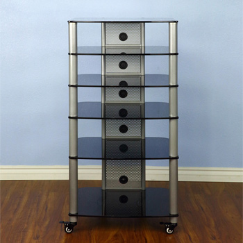 VTI NGR406SB - 6 Shelf Audio Rack with Gray Silver Poles and Black Glass.