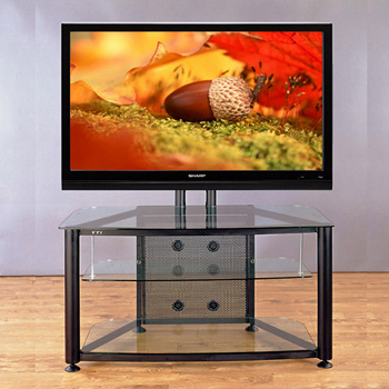 "VTI RFR 403 TV Stand with Black Frame and Clear Glass up to 55"" TVs."