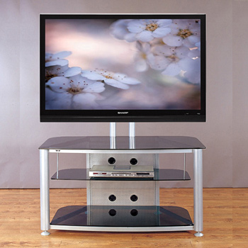 "VTI RFR 403 TV Stand with Silver Gray Frame and Black Glass up to 55"" TVs."