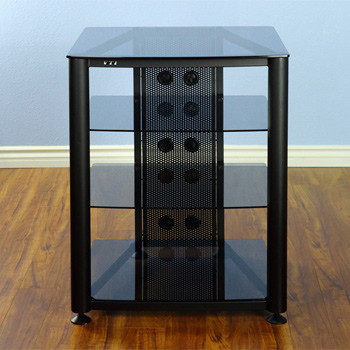 VTI RGR404BB - 4 Shelf Audio Rack with Black frame and Black Glass.
